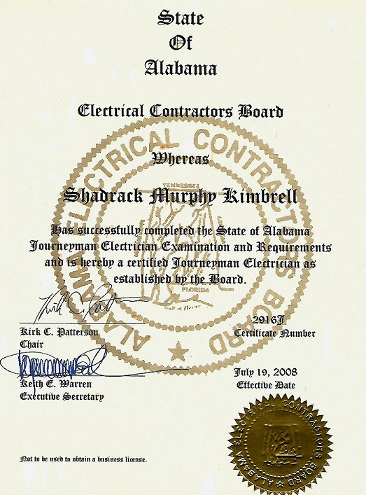 State of Alabama Journeyman Electrician Certification