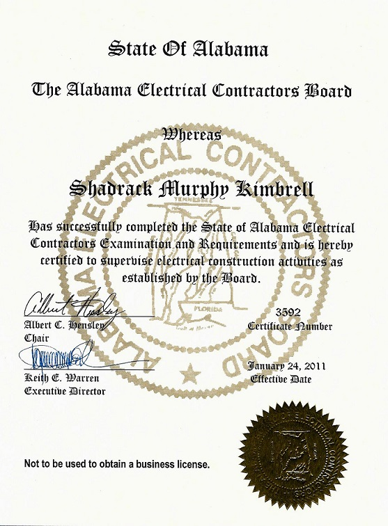 State of Alabama Master Certification